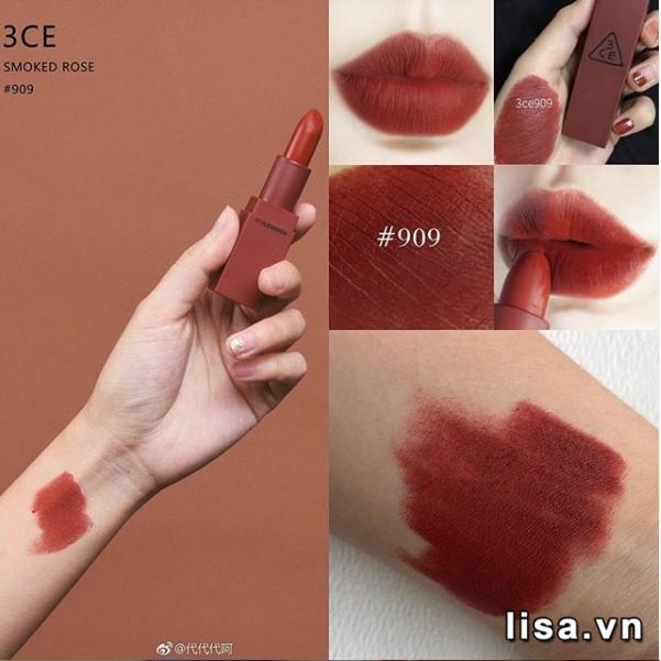 Son 3CE Mood Recipe Màu 909 Smoked Rose - Đỏ Nâu 4