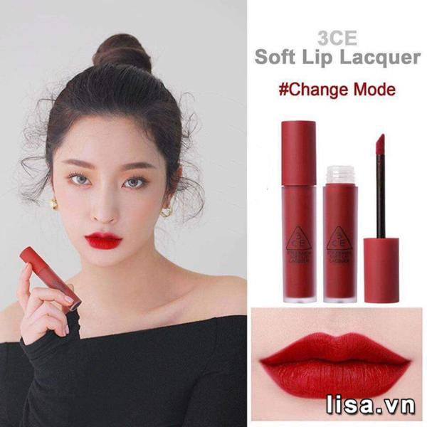 3CE Soft Lip Lacquer Change Mode có chất son mềm mịn