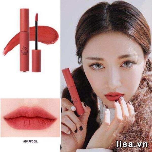Thiết kế 3CE Velvet Lip Tint Daffodil đơn giản nhỏ gọn