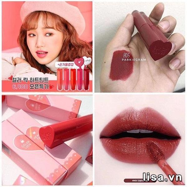 Son Black Rouge Color Lock Heart Tint H05 Provocative Cherry Đỏ Nâu