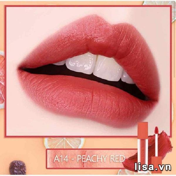 Black Rouge A14 Peach Red có chất son tint lì mịn mướt