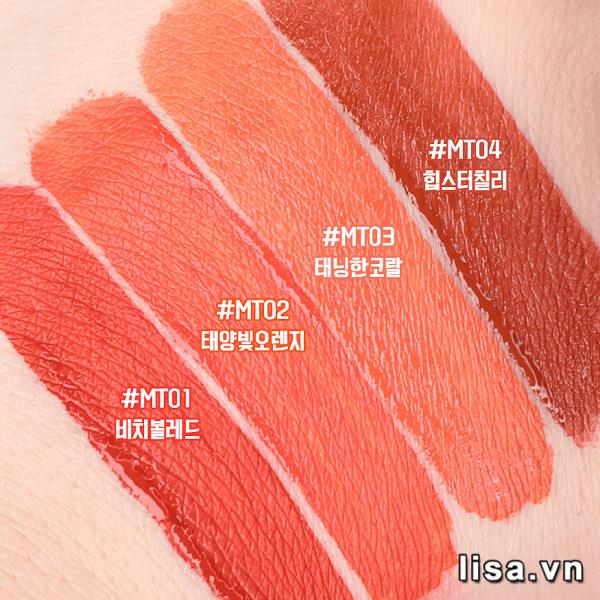 Black Rouge MT02 Sunny Orange có chất son tint mỏng nhẹ, lì mịn