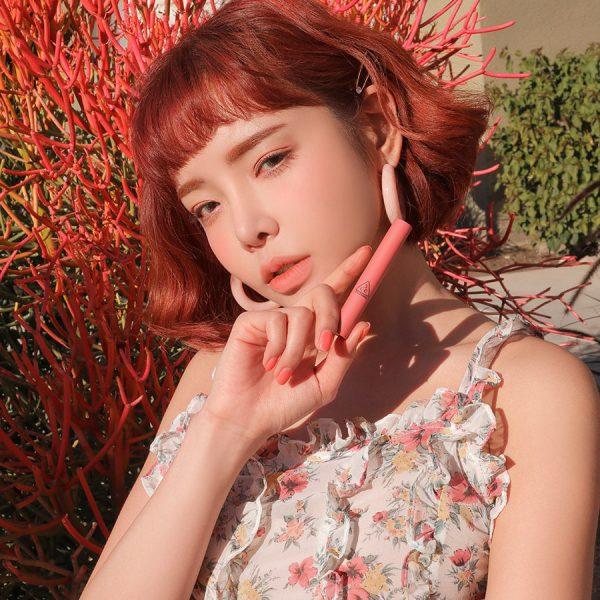 Son 3CE Slim Velvet Lip Color Màu Peach Play - Hồng Cam 5