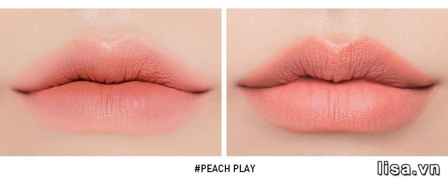 Son 3CE Peach Play khi đánh lòng môi và full môi