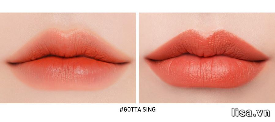3CE Màu Gotta Sing khi đánh lòng môi và full môi