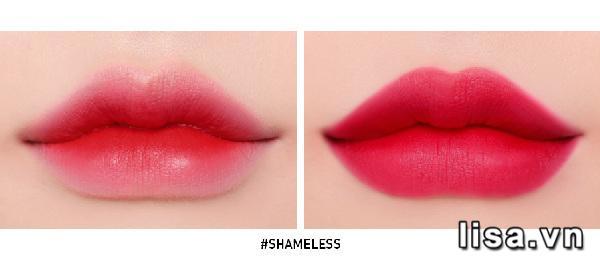 Son kem 3CE màu Shameless khi đánh lòng môi và full môi