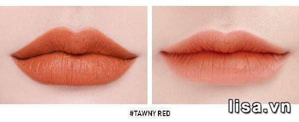 3CE Soft Lip Lacquer #Tawny Red khi đánh lòng môi và full môi