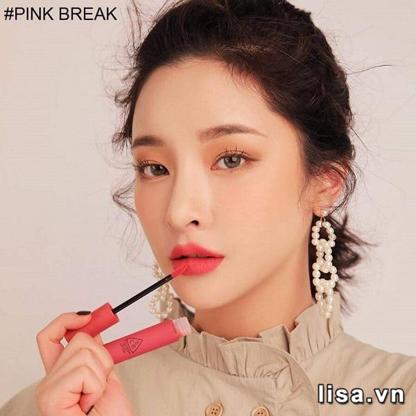 Son 3CE Velvet Lip Tint Pink Break - Hồng đào 3
