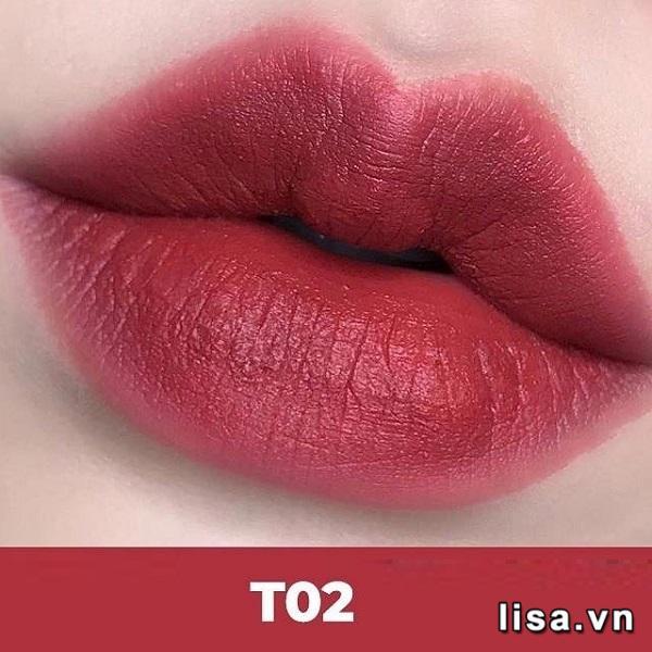 Chất son kem Black Rouge T02 lì mịn tô điểm môi hồng rực rỡ