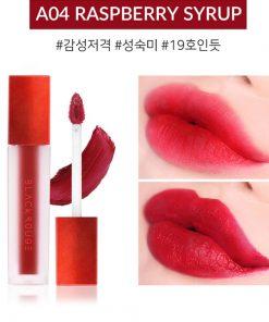 Son Black Rouge Air Fit Velvet Tint Ver 1 Màu A04 Raspberry Syrup - Đỏ Trầm 4