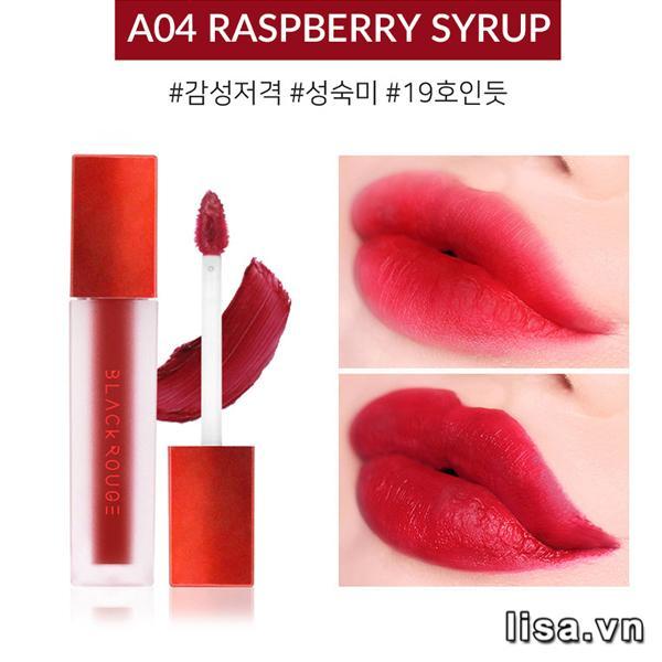 Son Black Rouge Air Fit Velvet Tint Ver 1 Màu A04 Raspberry Syrup - Đỏ Trầm 2