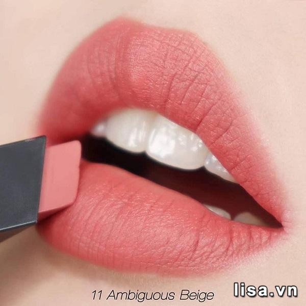 YSL Rouge Pur Couture The Slim 11 lên môi mịn mướt. nhẹ tênh