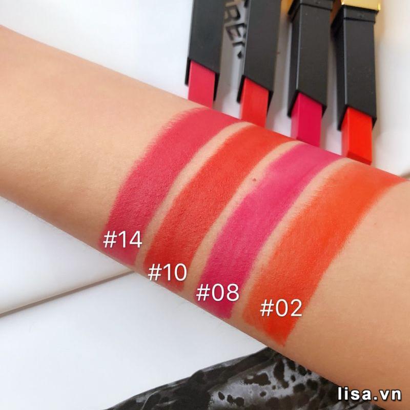 Màu 02 Strange Orange Cam đỏ bên cạnh màu 14, 10, 08