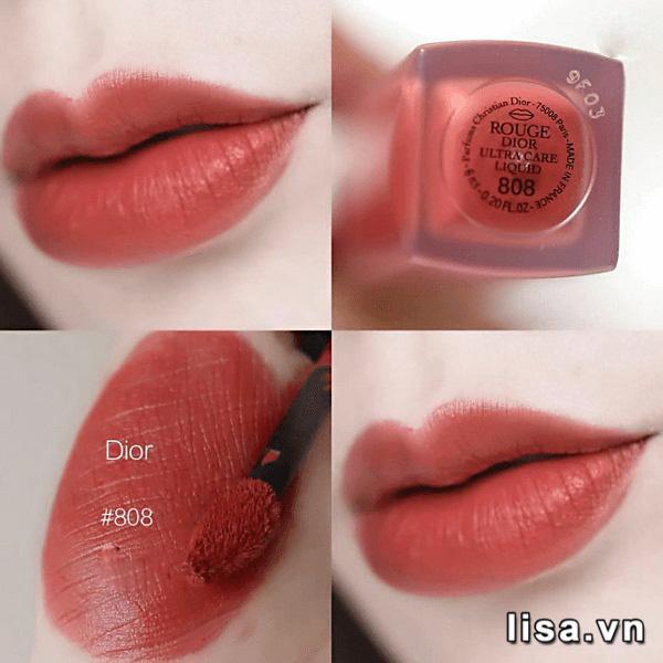 Kết cấu son Dior 808 Caress Rouge Ultra Care Liquid cực kỳ mỏng nhẹ