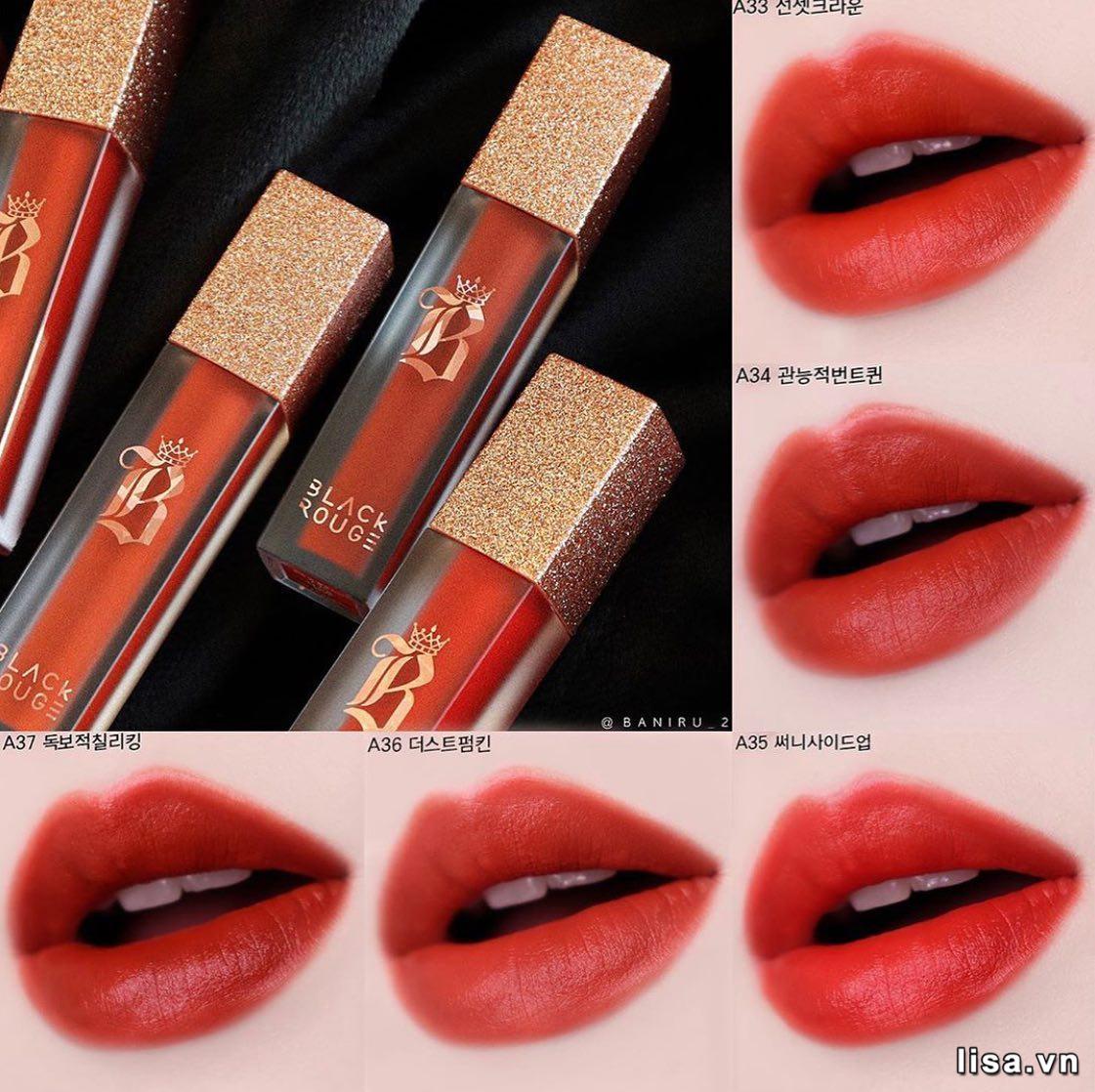 Bảng màu Black Rouge Air Fit Velvet Tint version 7 có 5 màu son, tông đỏ cam chủ đạo