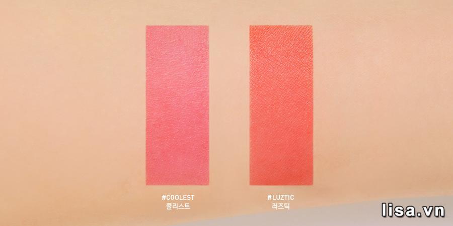 Còn đây là lớp base của hai màu son 3CE Coolest và Luztic khi lớp son đầu đã trôi hết