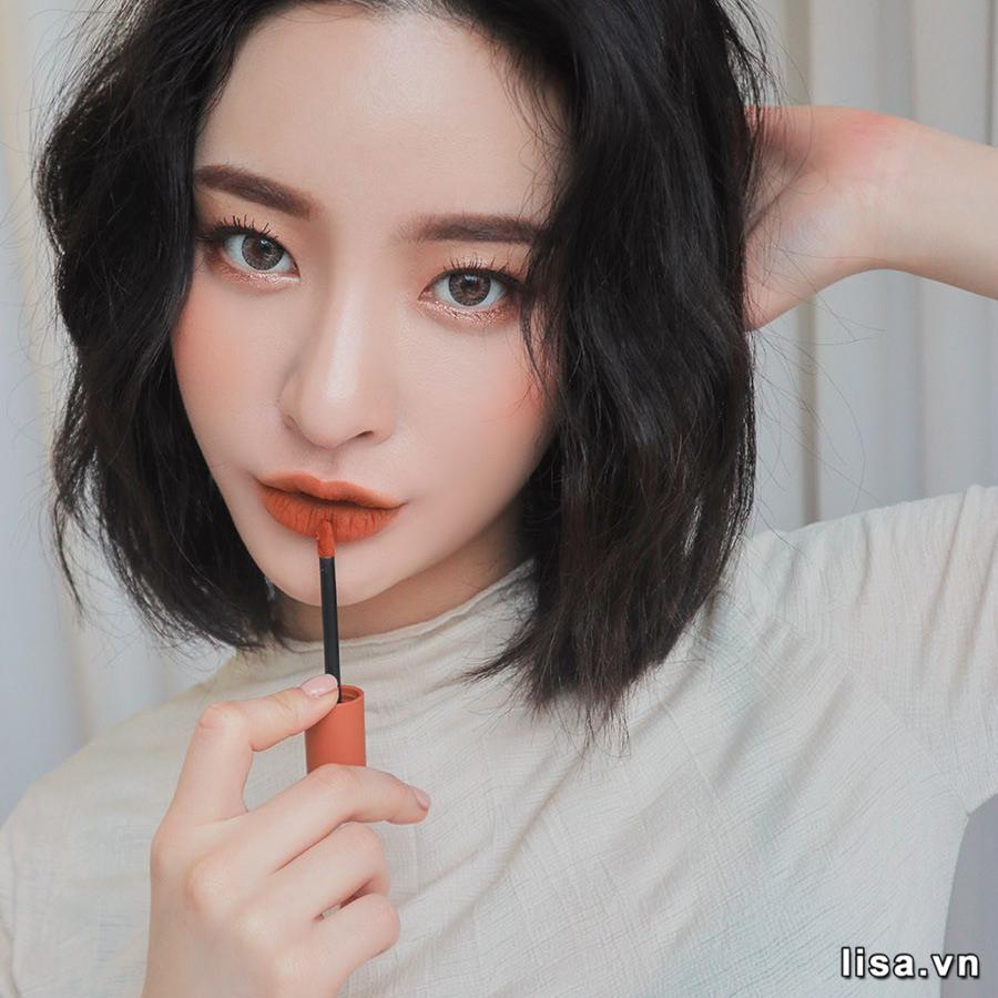 Son 3CE Soft Lip Lacquer Tawny Red màu cam đất trendy