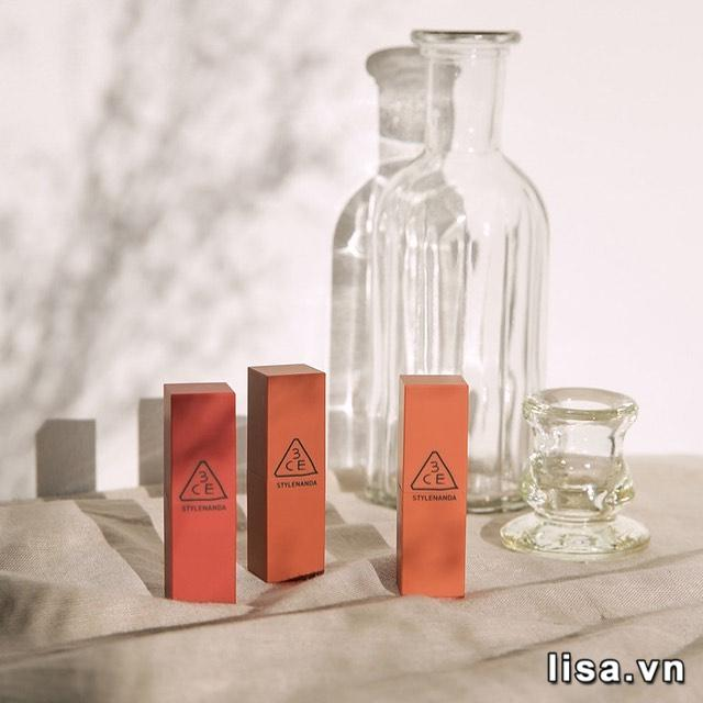 Son môi 3CE 229 Dry Tangerine sở hữu thiết kế đơn giản