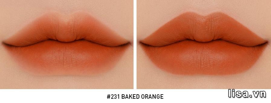 Chất son 3CE #231 Baked Orange lên môi mềm mịn không bóng