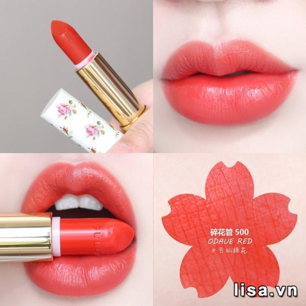 Son Gucci màu nào đẹp nhất? #500 Odalie Red có màu đỏ cam tươi trẻ luôn nằm trong top những màu Hit