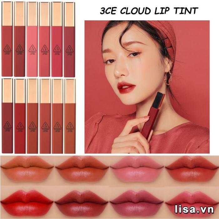 Bảng màu son 3CE Cloud Lip Tint