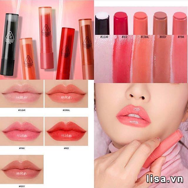 Son dưỡng môi 3CE Plumping Lips lên màu nhẹ