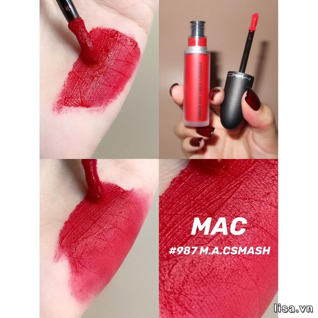 Chất son MAC Powder Kiss Liquid 987 M-A-C Smash mềm mịn như nhung