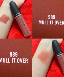 Son Kem MAC Powder Kiss Liquid Màu 989 Mull It Over - Cam Hồng Đất 9