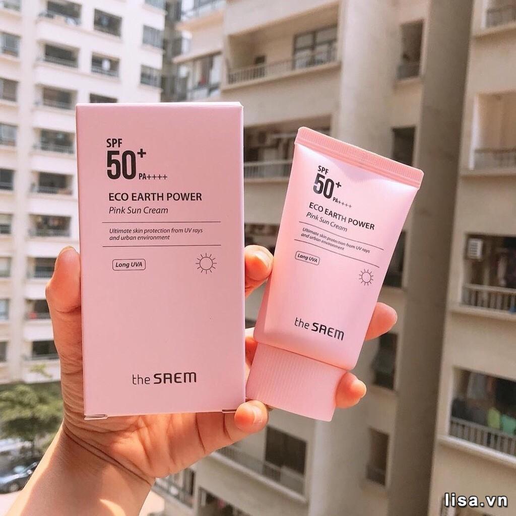Kem chống nắng The SAEM Eco Earth Power Pink SPF 50+ PA++++ an toàn với mọi làn da
