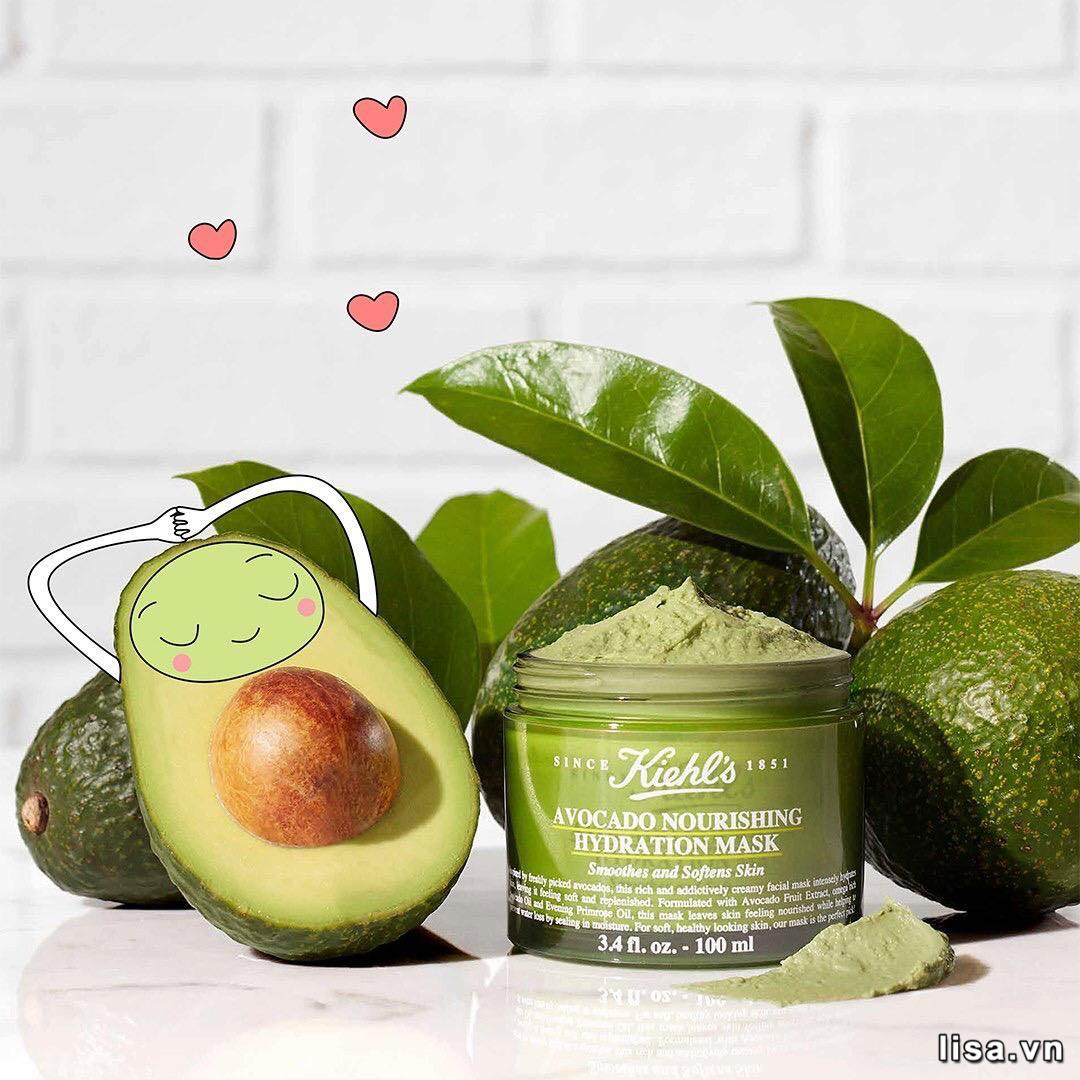 Mặt nạ Kiehl's Avocado Nourishing Hydration Mask được chiết cuất từ quả bơ, dưỡng ẩm rất tốt