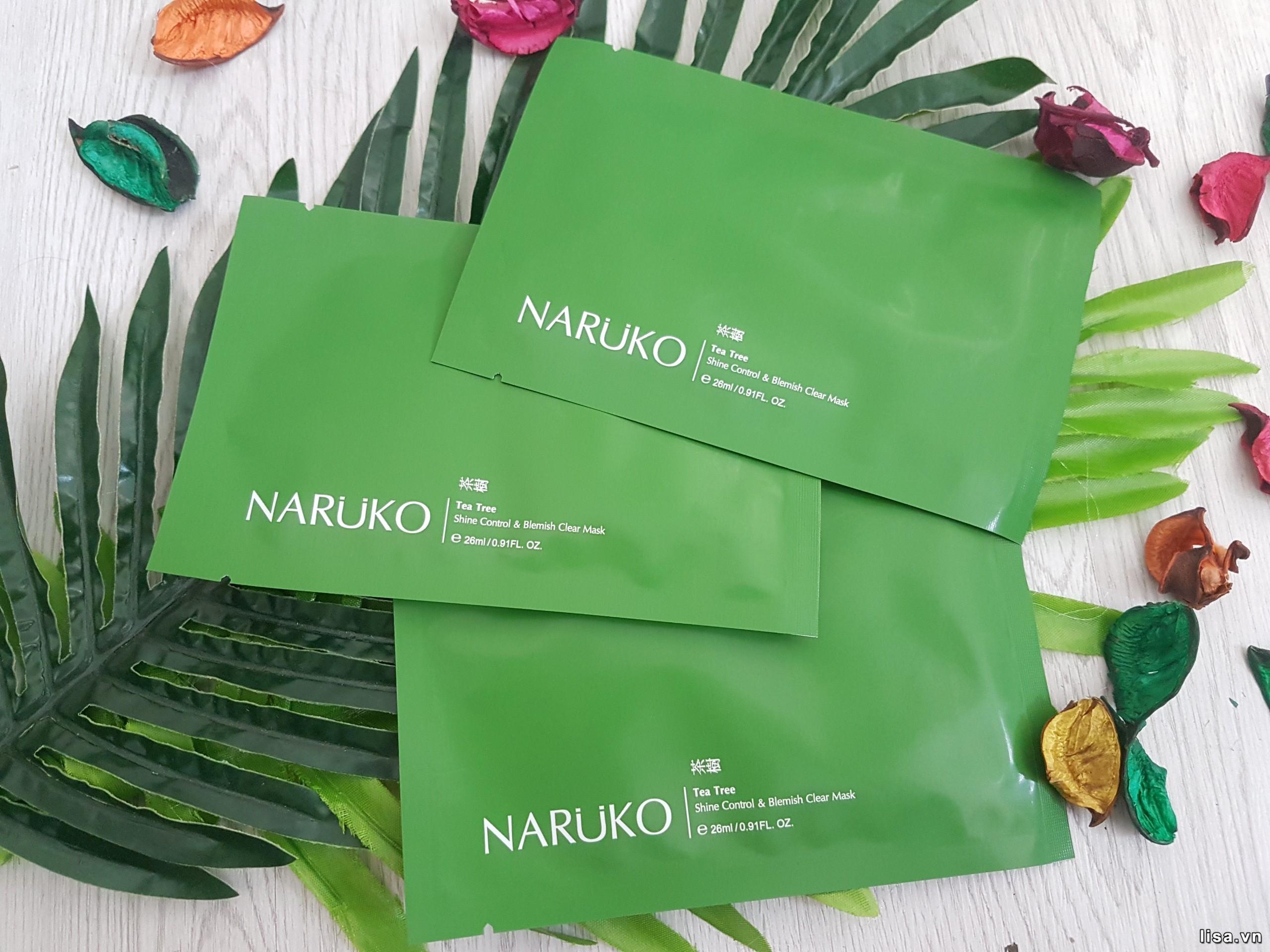 Mặt nạ tràm trà Naruko Tea Tree Shine Control & Blemish Clear Mask sở hữu thiết kế đơn giản, ẩn tượng
