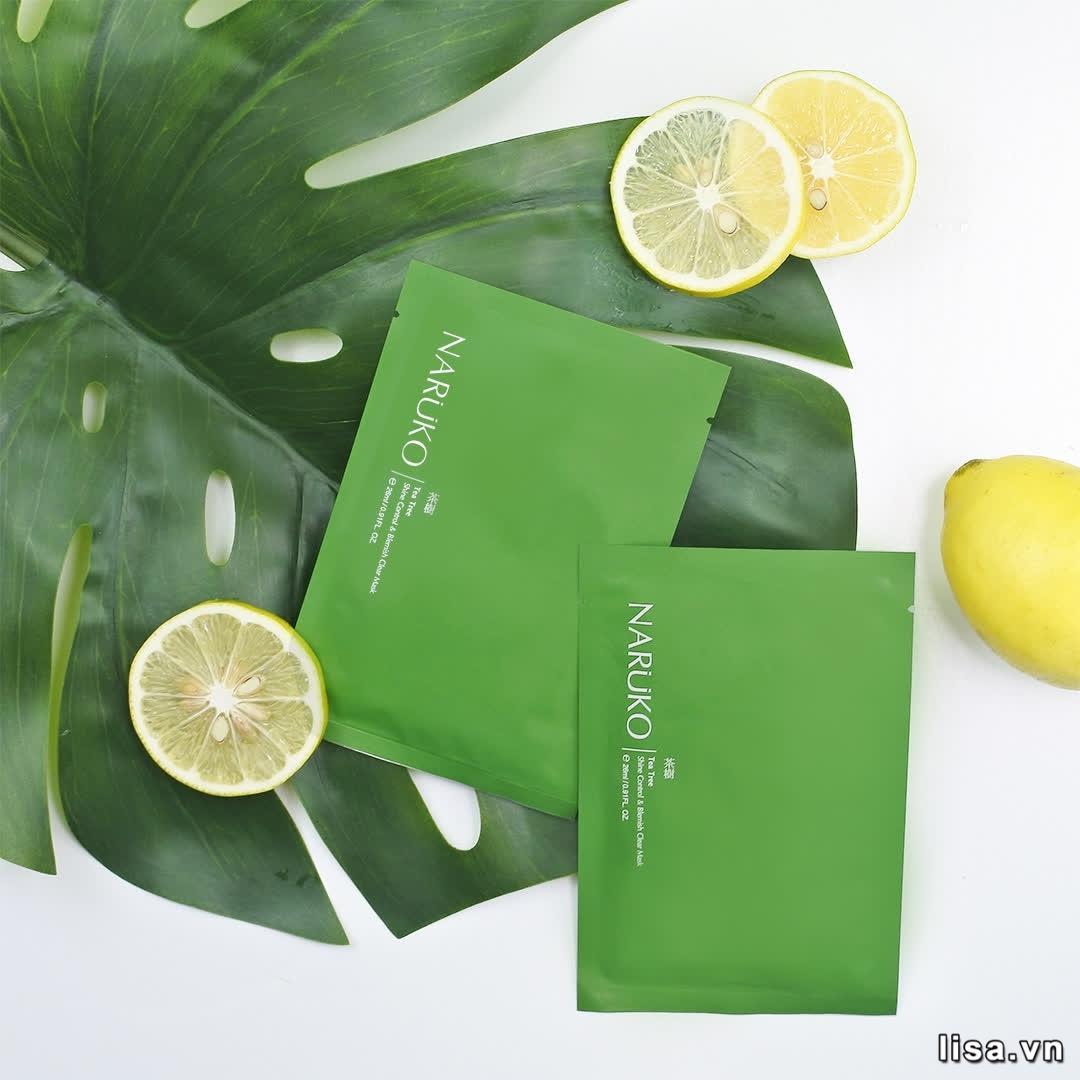 Mặt nạ tràm trà Naruko Tea Tree Shine Control & Blemish Clear Mask hỗ trợ điều trị mụn rất tốt