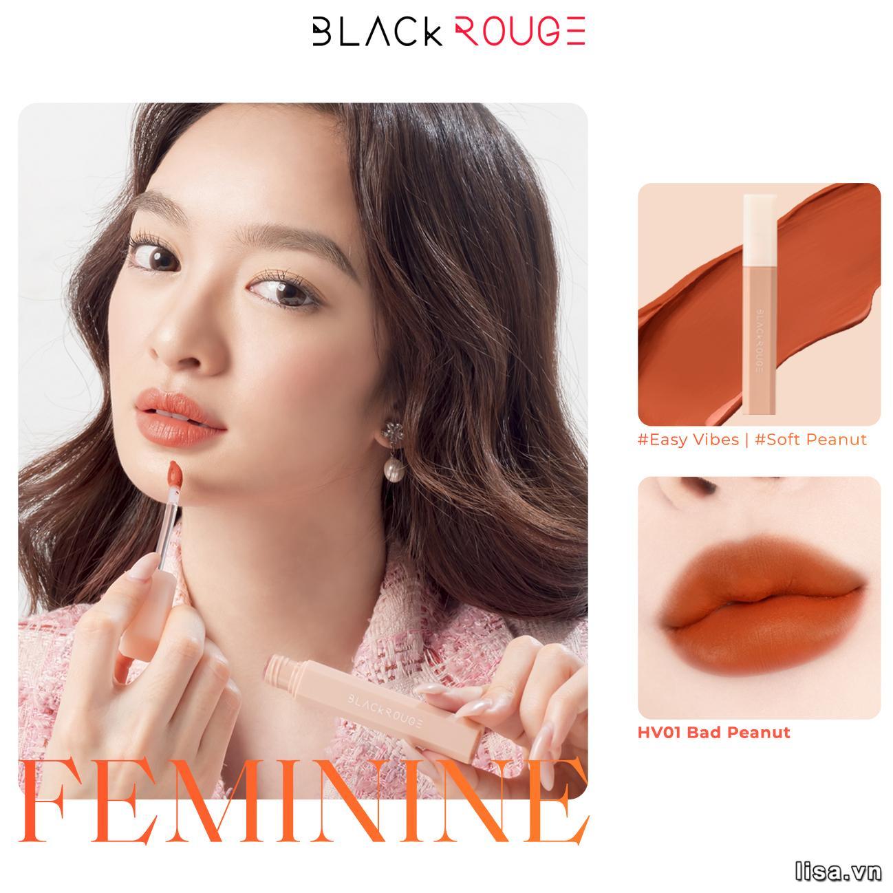 Son Black Rouge Half N Half Màu HV01 Bad Peanut sở hữu tone cam nude đẹp bá cháy