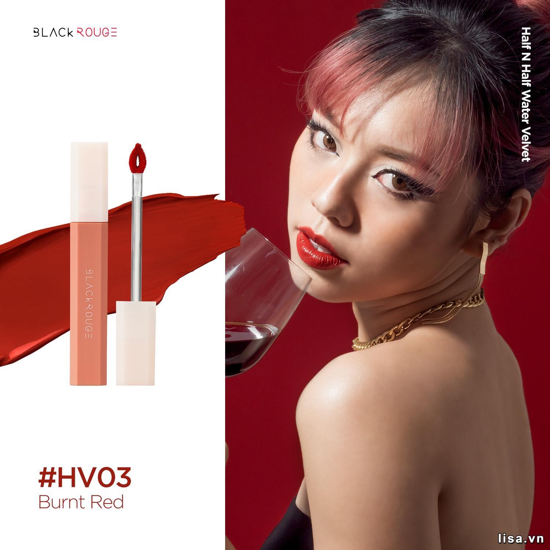 Son Black Rouge HV03 Burnt Red sở hữu tone đỏ chili cực đẹp
