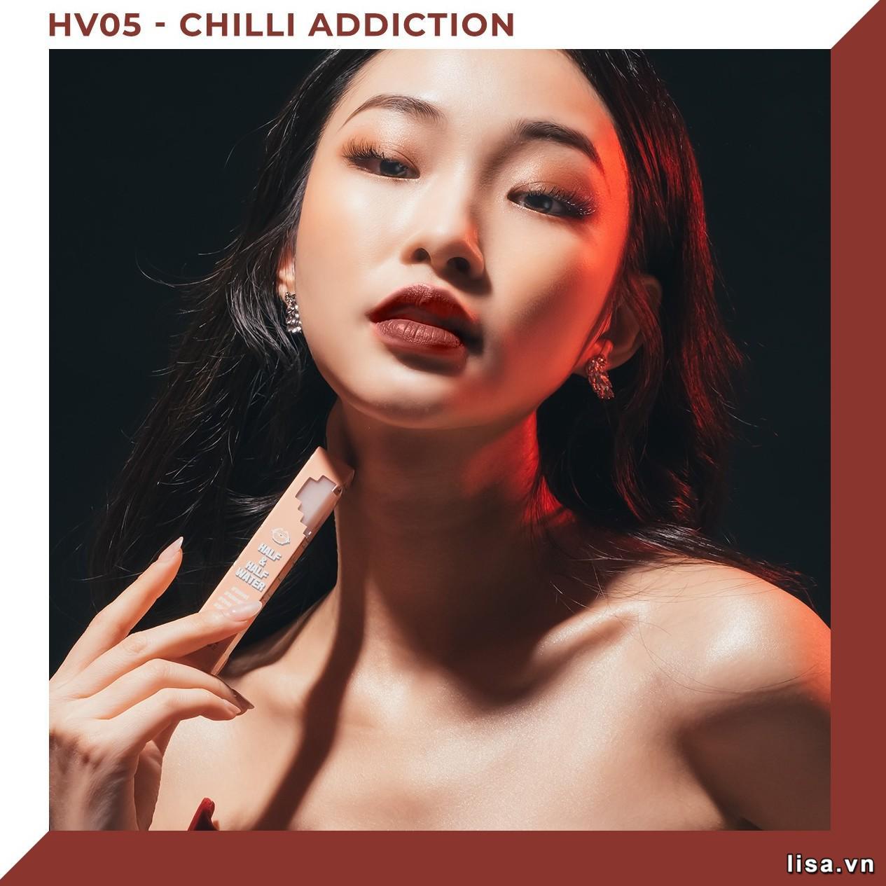Son Black Rouge Half N Half HV05 Chilli Addiction lên môi đậm nhạt tùy thuộc vào cách bạn đánh son