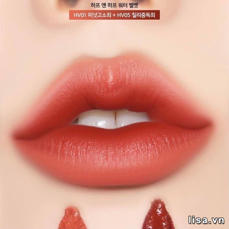 Son Black Rouge Half N Half HV05 Chilli Addiction dưỡng ẩm môi hiệu quả